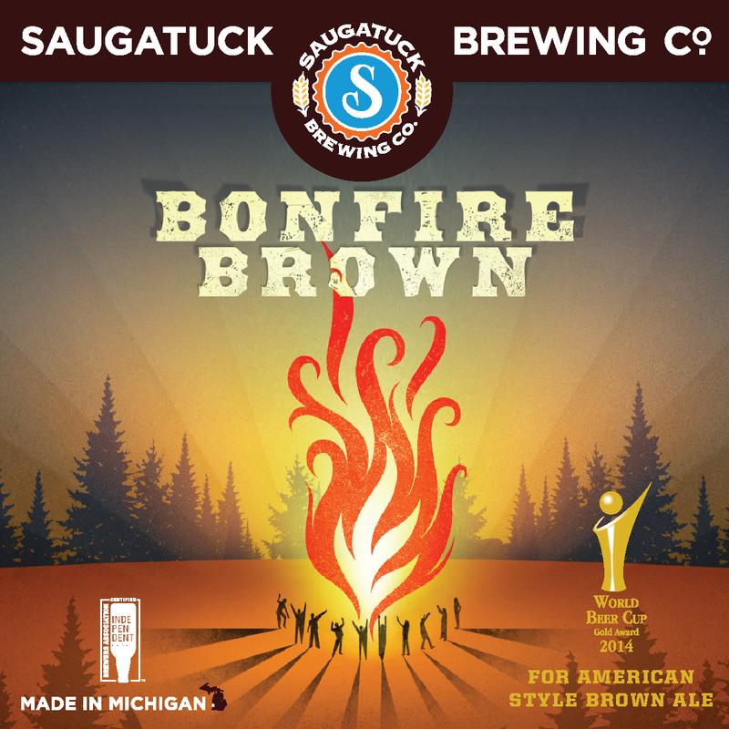 Saugatuck Bonfire Brown Nitro beer Label Full Size