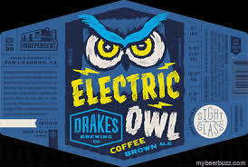 Drake's Electric Owl Coffee Brown beer Label Full Size