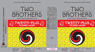 Two Brothers Twenty Plus Pils beer Label Full Size