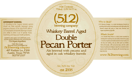 (512) Whiskey Barrel Aged Double Pecan Porter beer Label Full Size