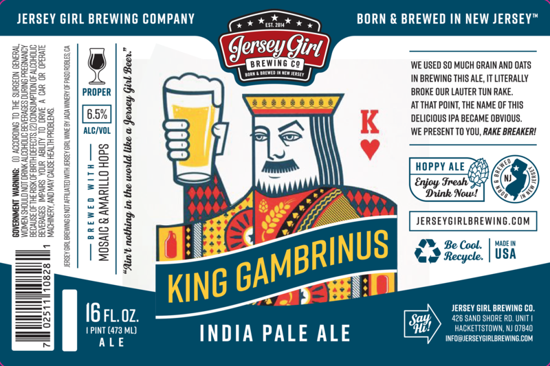 Jersey Girl King Gambrinus Belgian Tripel beer Label Full Size
