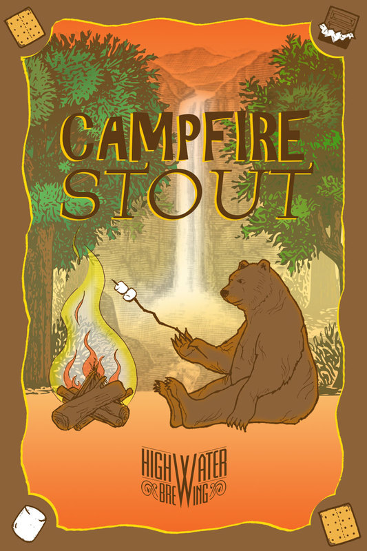 High Water Campfire Stout beer Label Full Size