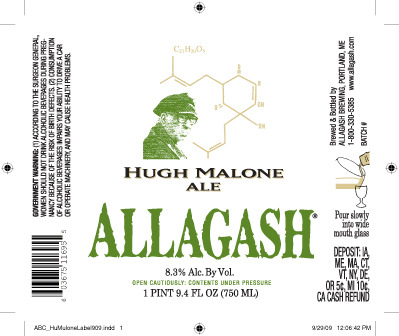 Allagash Hugh Malone beer Label Full Size