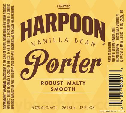 Harpoon Vanilla Bean Porter beer Label Full Size