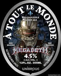 Unibroue A Tout le Monde Megadeth beer Label Full Size