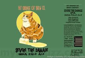 Fat Orange Cat Severe Tire Damage beer Label Full Size