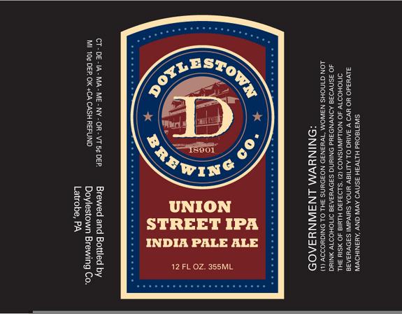 Doylestown Union Street IPA beer Label Full Size
