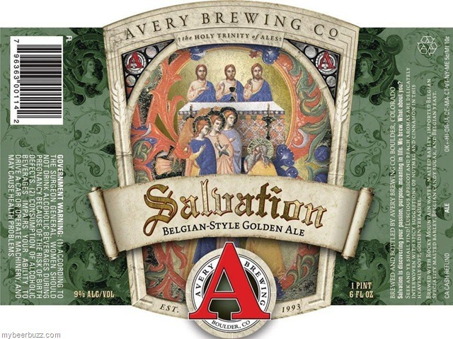 Avery Salvation beer Label Full Size