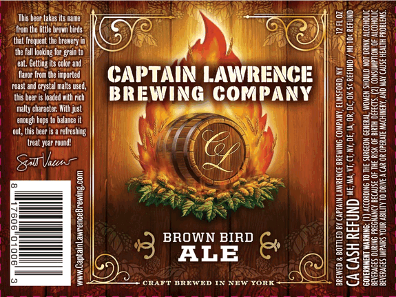Captain Lawrence Brown Bird Brown Ale beer Label Full Size