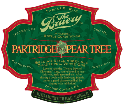 Bruery Partridge in a Pear Tree beer Label Full Size