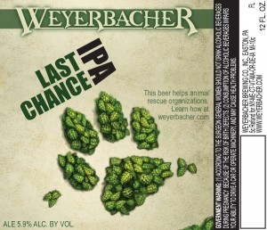 Weyerbacher Last Chance IPA beer Label Full Size