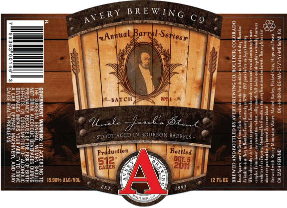 Avery Uncle Jacob's Stout beer Label Full Size