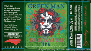 Green Man Trickster IPA beer Label Full Size