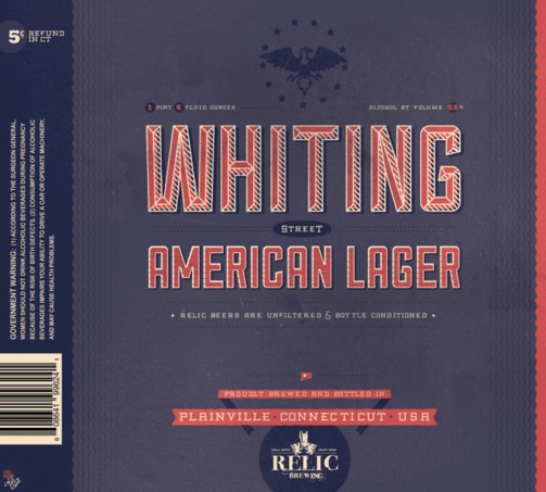 Relic Whiting Street Lager beer Label Full Size