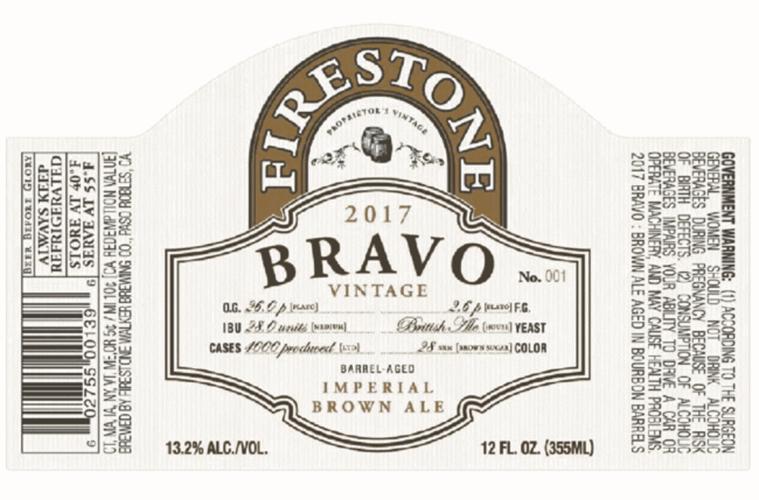 Firestone Walker 2017 Bravo Vintage beer Label Full Size
