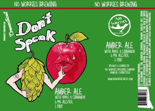 No Worries - Don't Speak beer Label Full Size