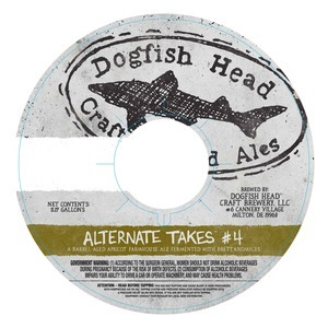 Dogfish Head Alternate Takes #4 beer Label Full Size