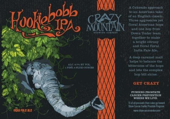 Crazy Mountain Hookiebob IPA beer Label Full Size