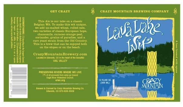 Crazy Mountain Lava Lake Wit beer Label Full Size