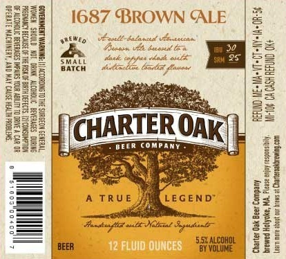 Charter Oak 1687 Brown Ale beer Label Full Size