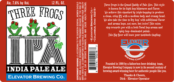 Elevator Three Frogs IPA beer Label Full Size