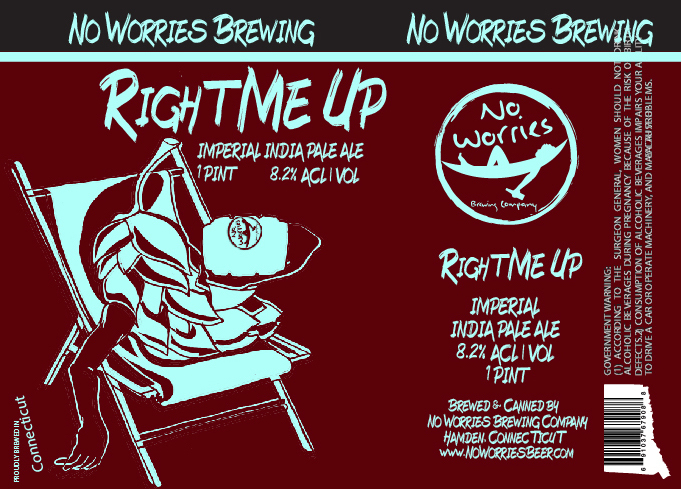 No Worries - Right Me Up beer Label Full Size