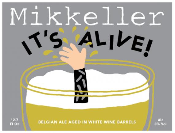 Mikkeller It's Alive! (White Wine Barrel Edition) beer Label Full Size