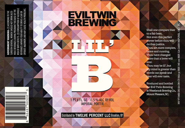 Evil Twin Lil' B beer Label Full Size
