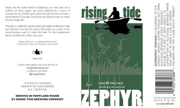 Rising Tide Zephyr beer Label Full Size