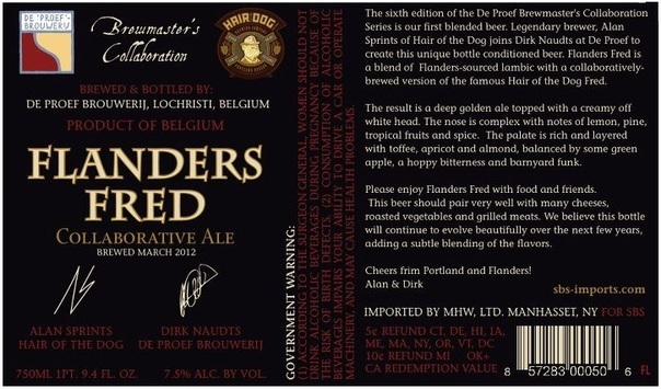 Hair of the Dog Flanders Fred beer Label Full Size