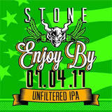 Stone Enjoy By 07.04.17 Unfiltered IPA beer Label Full Size