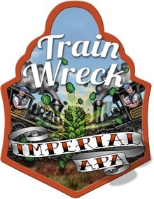 Rusty Rail Train Wreck Imperial IPA beer Label Full Size