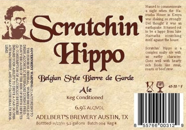 Adelbert's Scratchin' Hippo beer Label Full Size
