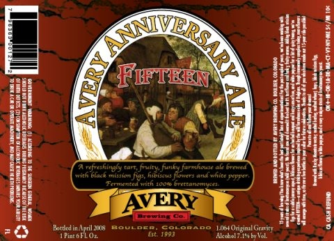 Avery 15 Anniversary Ale beer Label Full Size