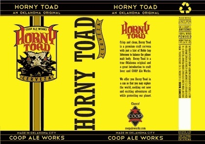 COOP Horny Toad Cerveza beer Label Full Size