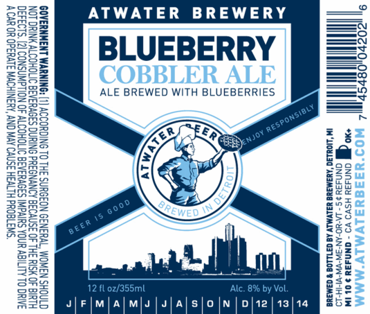 Atwater Blueberry Cobbler beer Label Full Size