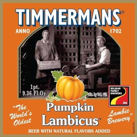 Timmermans Pumpkin Lambicus beer Label Full Size