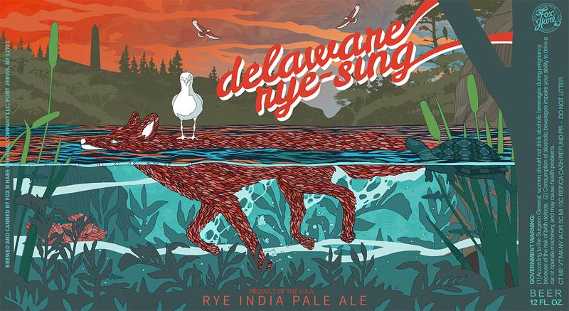 Fox N Hare's - Delaware Rye-sing beer Label Full Size