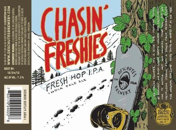 Deschutes Chasin' Freshies Fresh Hop IPA beer Label Full Size