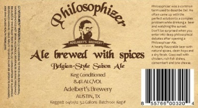 Adelbert's Philosophizer beer Label Full Size