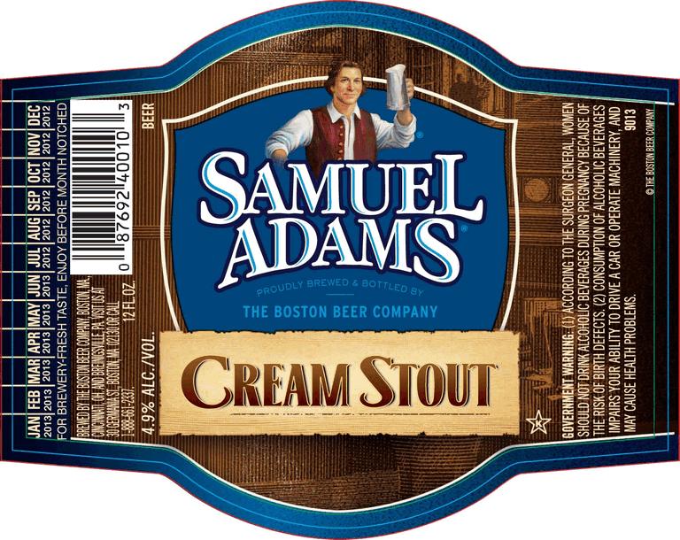 Sam Adams Cream Stout beer Label Full Size