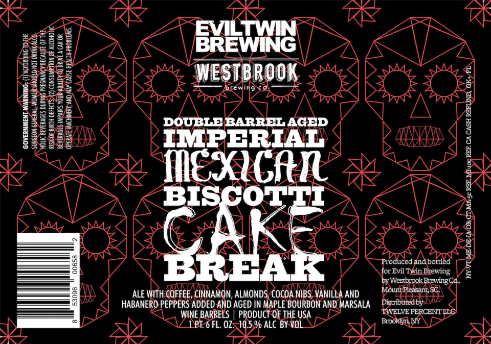 Evil Twin + Westbrook Imperial Mexican Biscotti Cake Break Coffee beer Label Full Size