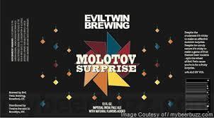 Evil Twin Molotov Surprise w/ Grapefruit beer Label Full Size