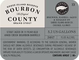 Goose Island Bourbon County Stout Reserve 2017 beer Label Full Size