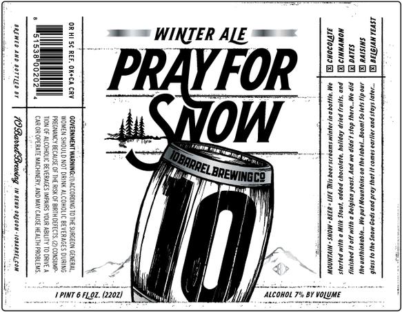 10 Barrel Pray For Snow beer Label Full Size