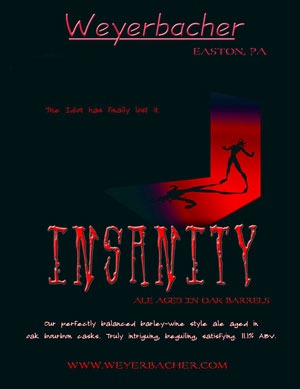 Weyerbacher Insanity beer Label Full Size