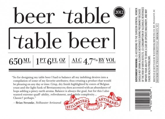 Stillwater Table Beer beer Label Full Size