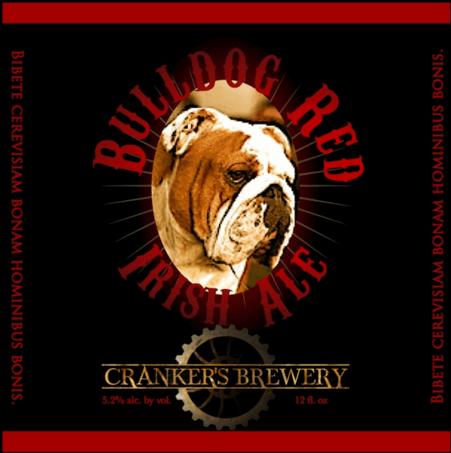 Cranker's Bulldog Red beer Label Full Size