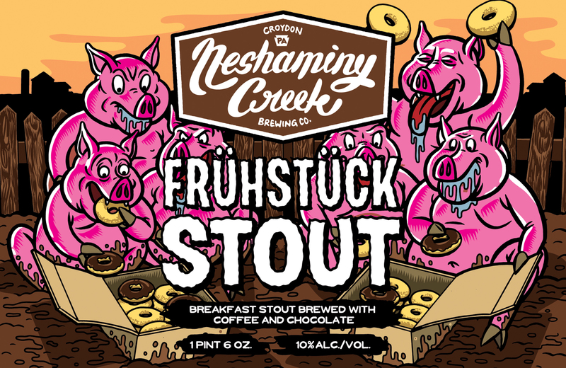 Neshaminy Creek Frühstück Stout beer Label Full Size