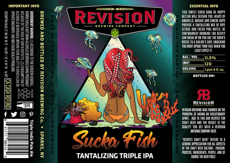 Revision Sucka Fish - Tantalizing Triple IPA beer Label Full Size
